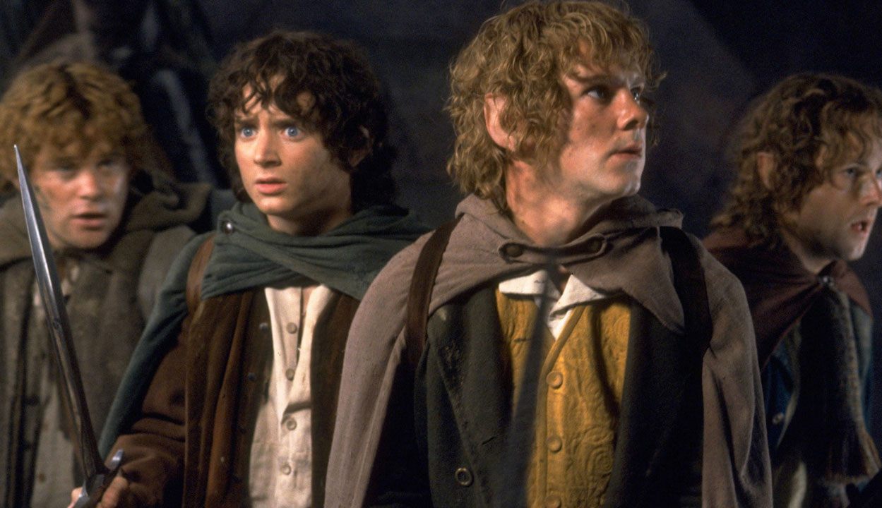 """Elijah Wood, Sean Astin, Dominic Monaghan and Billy Boyd in """"The Fellowship of the Ring"""""""