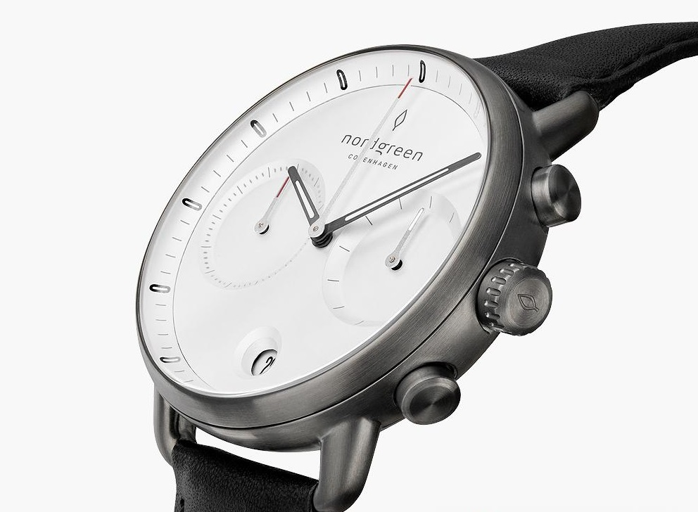Pioneer Chronograph Watch from Nordgreen with black strap angled view