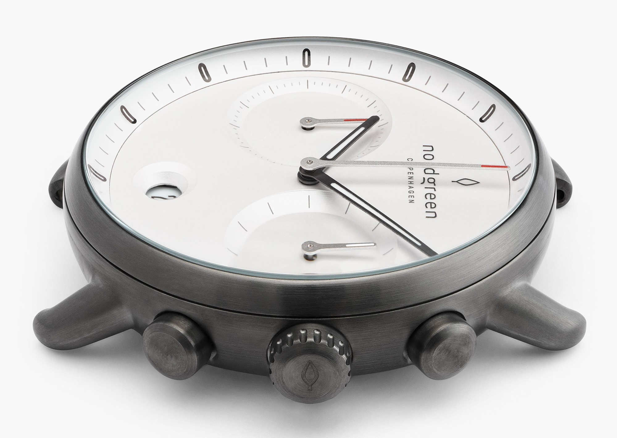 Pioneer Chronograph Watch from Nordgreen side view of stainless steel case