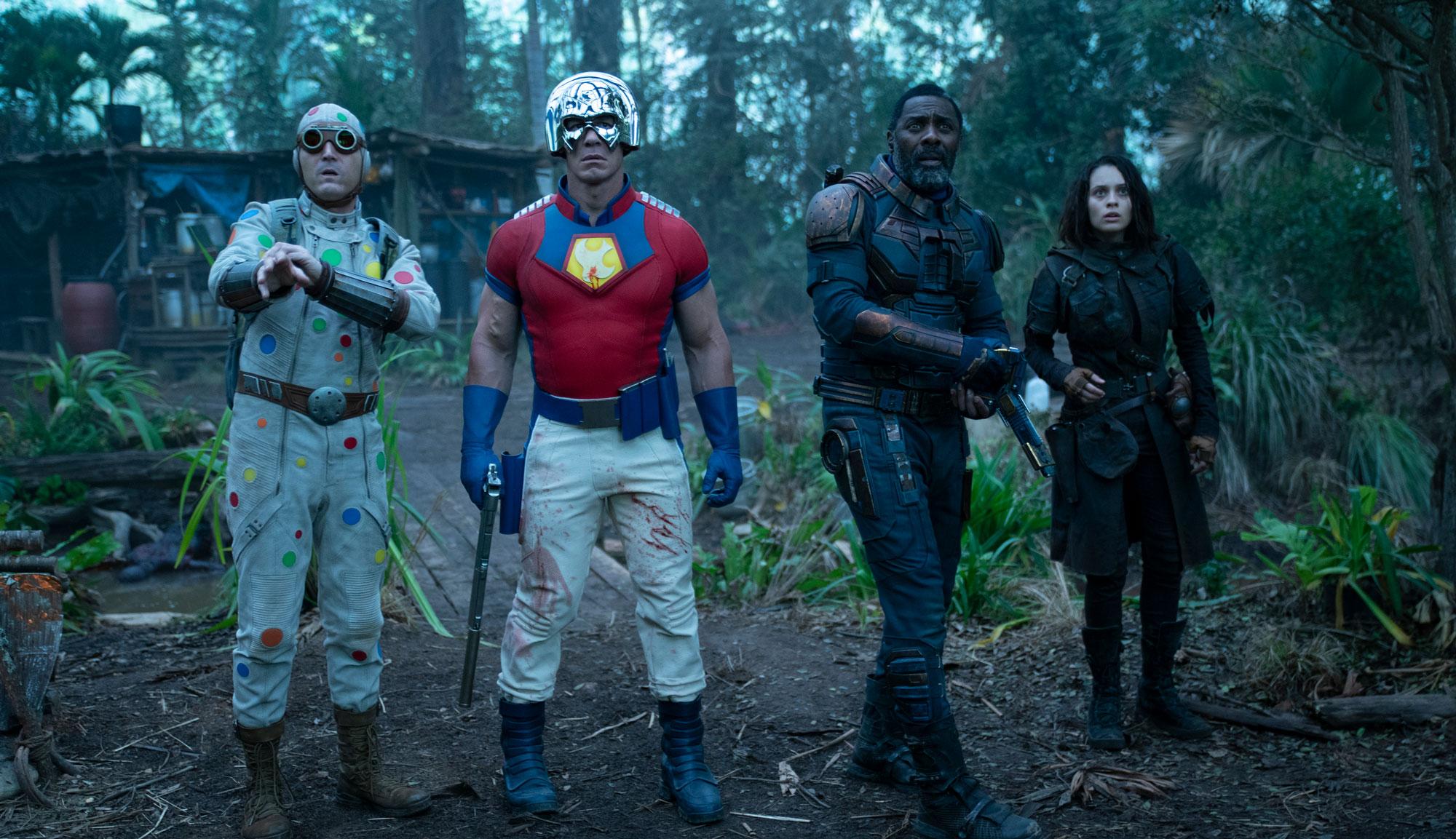 "Idris Elba, John Cena, Daniela Melchior and David Dastmalchian in ""The Suicide Squad"""