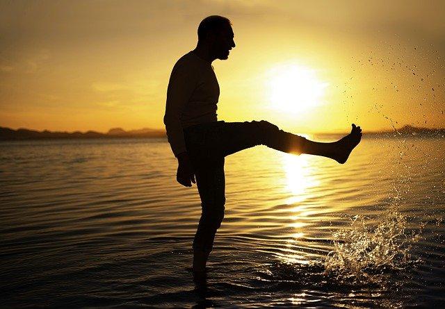 man at sunset