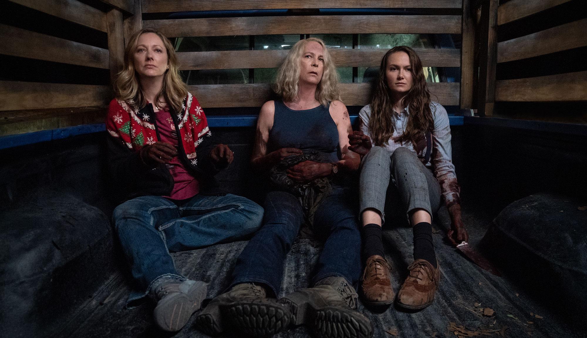 """Jamie Lee Curtis, Judy Greer and Andi Matichak in """"Halloween Kills"""""""