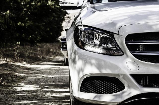 white Mercedes sedan front view
